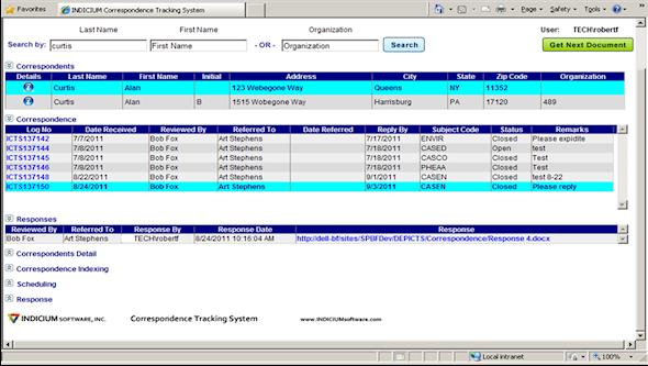 correspondence tracking